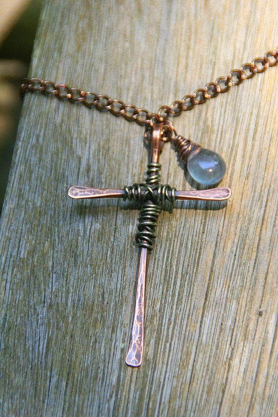 Hammered copper cross wire wrapped with silver pendant for Hammered copper jewelry tutorial