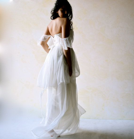 Tiered Wedding Dress, Boho Wedding Dress, Edwardian wedding gown, silk wedding dress, custom wedding dress, Fairy wedding dress, LoreTree