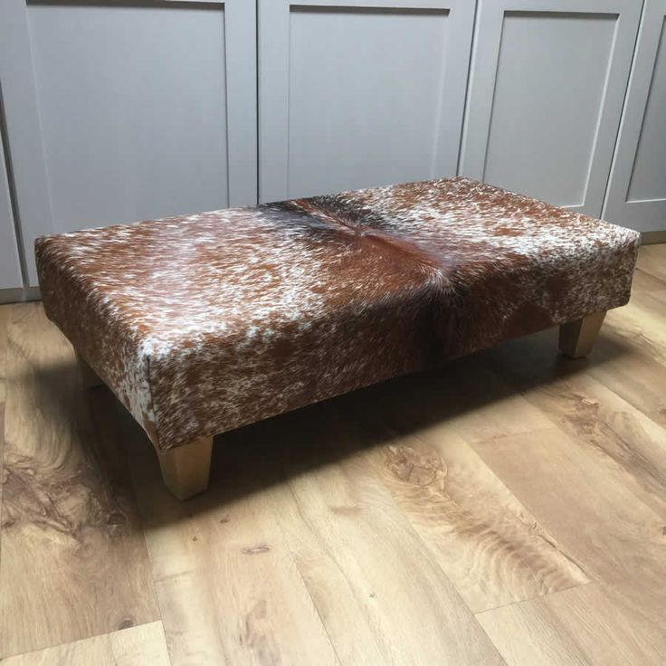 Caramel and Cream Genuine Cowhide Footstool. Made in England