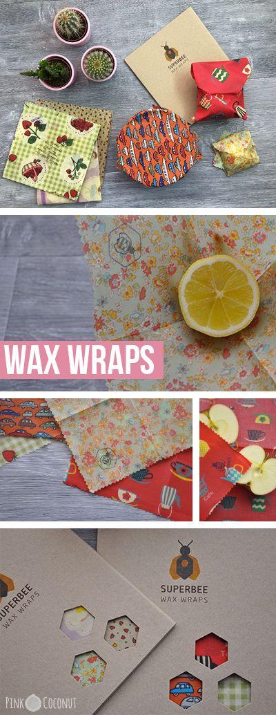 les Wax Wraps, emballages en tissu enduit de cire d'abeille. L'alternative naturelle au film plastique et à l'aluminium.