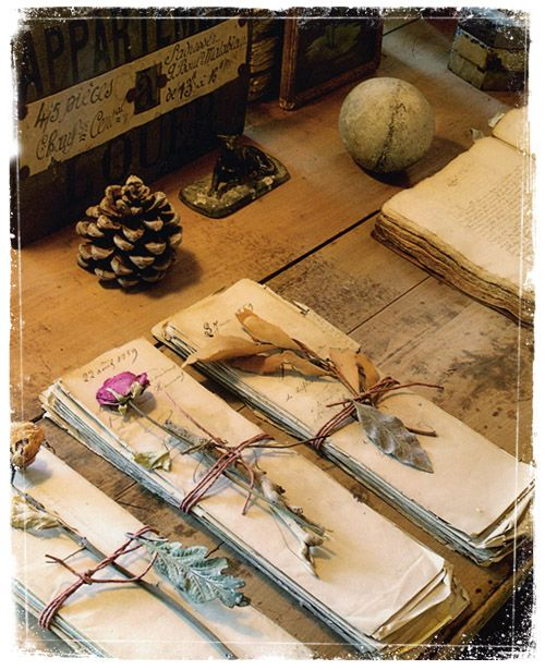 french letters wrapped pretty <3 - saw this & thought of a tea w/ spoon, fork, knife wrapped, tied & decorated w/ flower & long stem.