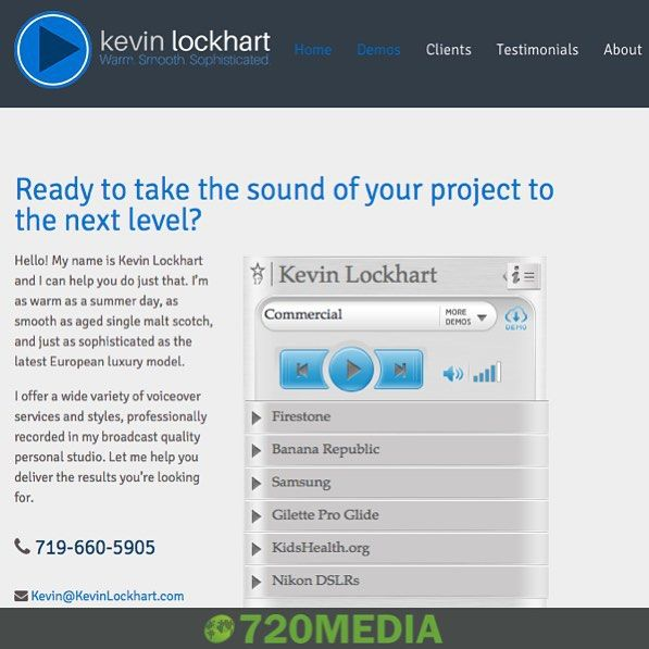 "New #website by #720MEDIA!  Kevin Lockhart is a #Colorado based #voicetalent #writer and #producer heard nationwide on #radio and #television and worldwide via the Internet and apps. He needed a #mobilefriendly #WordPress site that effectively featured his work with clients like Cabelas 7-11 McDonalds Noodles & Company Hyundai REI and more. He couldnt be more pleased and he was very impressed with the results!  Client Feedback: ""I know the SEO is working! The site was only up 24 hours and I…"