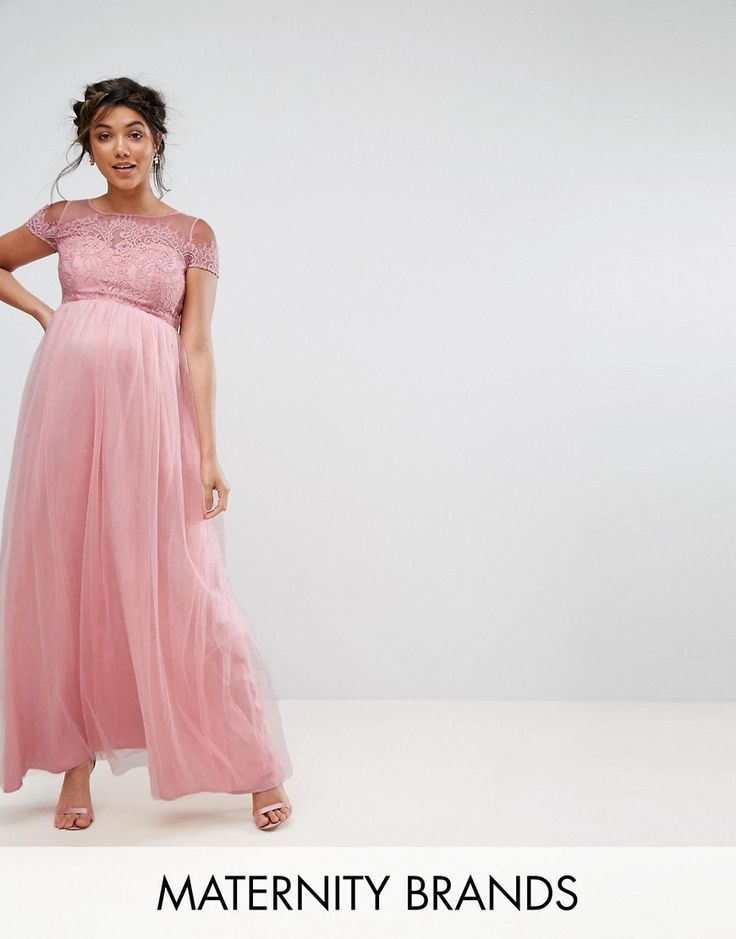 Chi Chi London Maternity Cold Shoulder Lace Maxi Dress - Pink