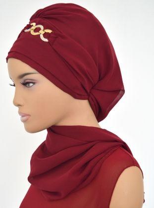 Ready-to-wear Turban - Maroon - Ayşe Türban Tasarım