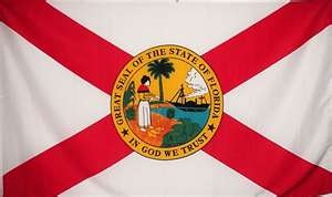 State Flag of Florida. A big red X marks the spot.