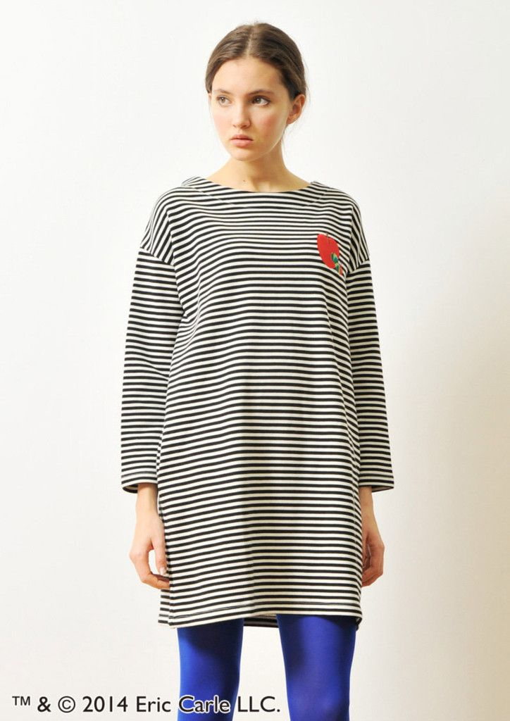 Red Apple Embroidery (Eric Carle Long Sleeve Sweat One-Piece)