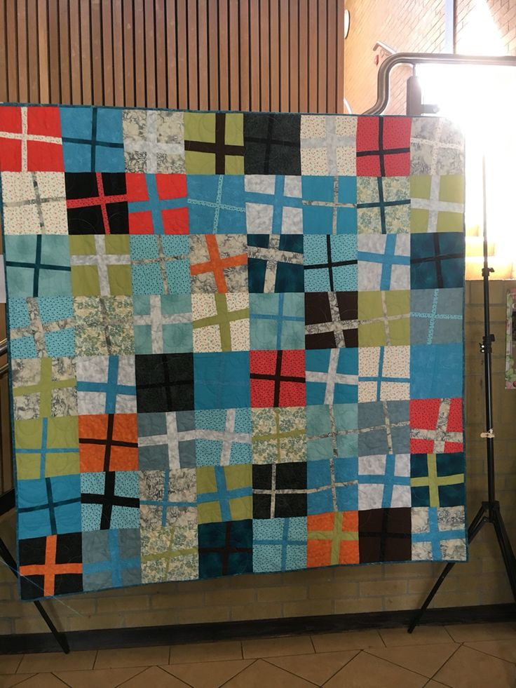 My wonky crosses quilt inspired by a Matisse painting