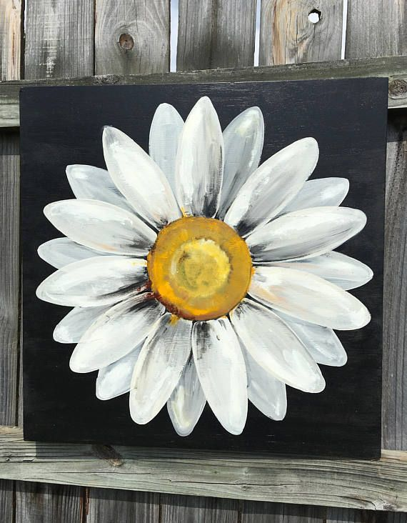 Large, original daisy painting on a wood panel. This painting is 24x24 square. The flower distressed white and the background is a deep black. This is a very popular item in my shop; the black and white sells out often! :) It is beautiful! This item is handcrafted from start to finish and hanging hardware is already attached. You can hang this painting indoors or outside- it has been sealed and is ready for the elements outdoors. Decorate your deck or patio! I have included several front…