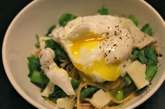 AND WALK: Meatless Mondays - Asparagus with Poached Eggs Over Pasta ...