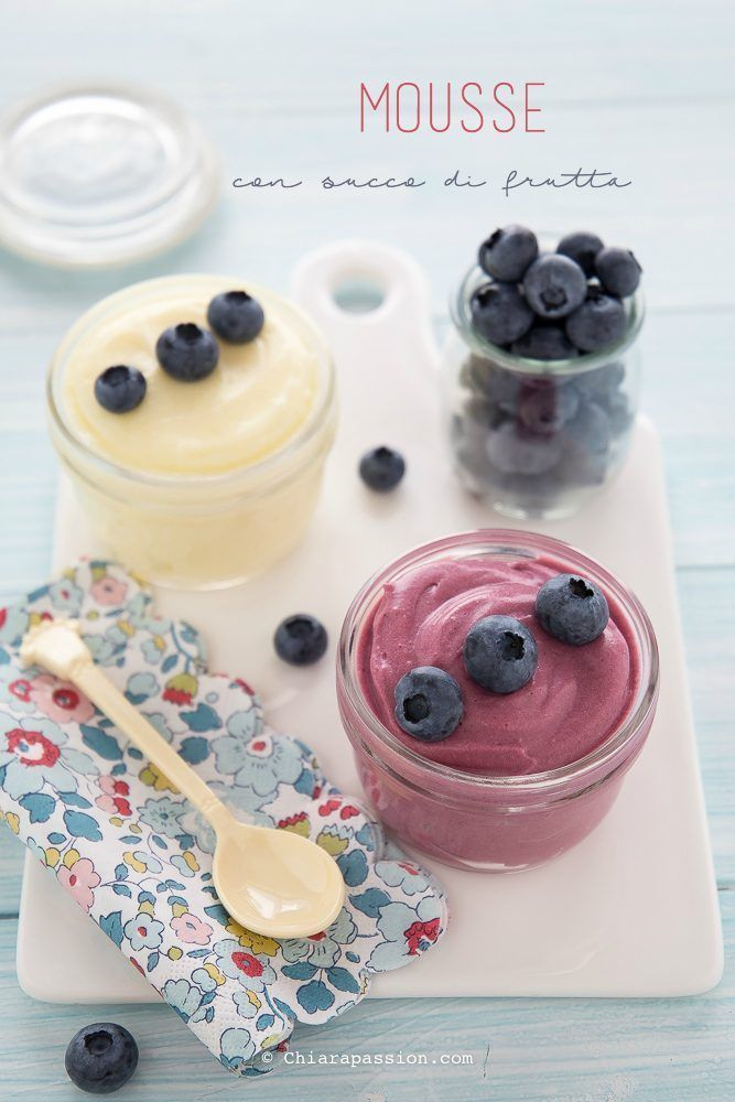 Mousse con succo di frutta senza gelatina, gluten free e senza uova. Fruit Mousse