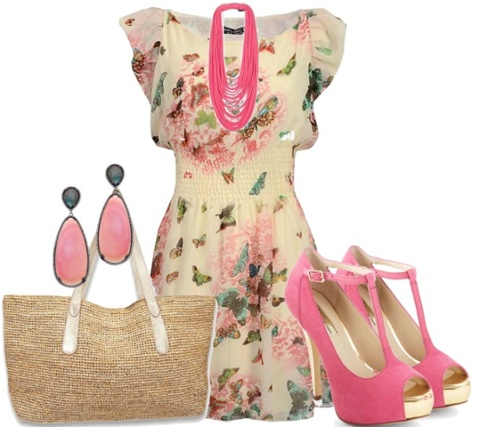 pink floral fresh and sweet set