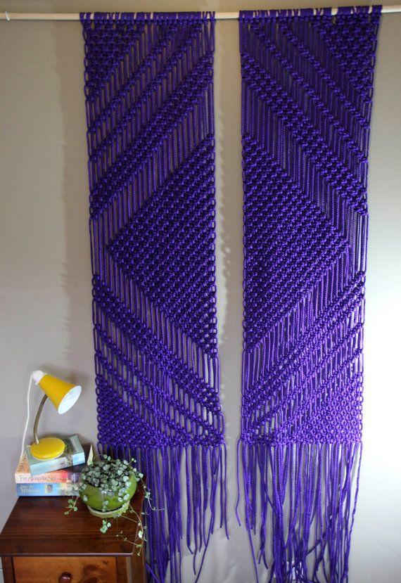 Macrame Wall Hanging - Mirror - In Purple