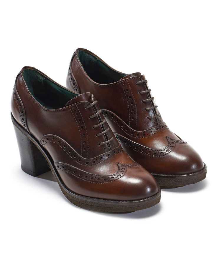 Take a look at this British Passport Brown Wingtip Leather Pump - Women today!