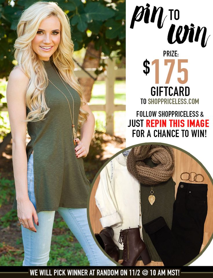 Repin this image for a chance at winning a $175 gift card to Shop Priceless!