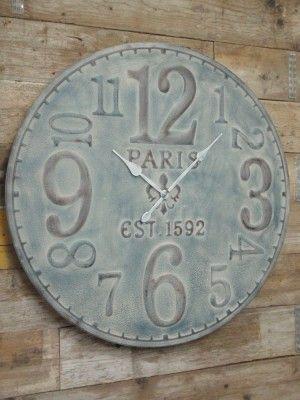 Ijzeren wandklok Paris XXL  grijs Ø  100 cm x 10 cm diep