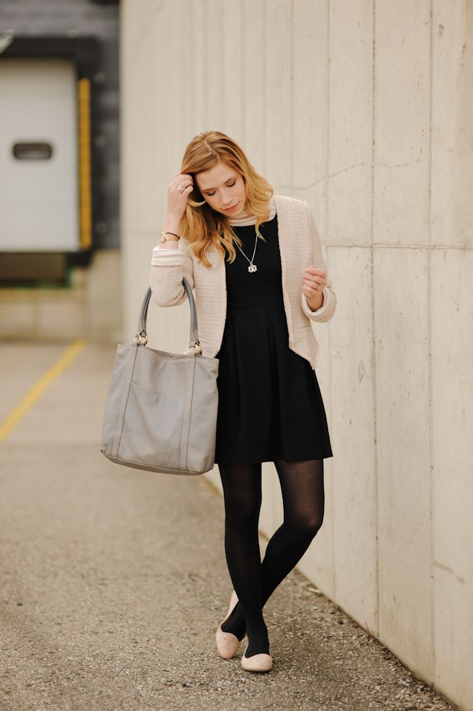 Black Dress Black Tights Nude Flats I Wear Outfits Style