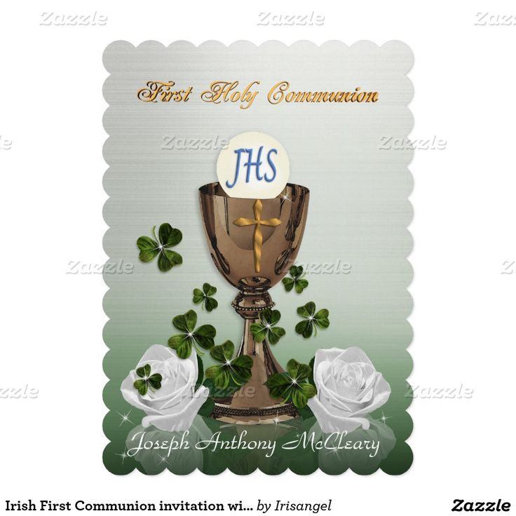 free printable0th wedding anniversary invitations%0A Irish First Communion invitation with shamrocks  Anniversary InvitationsFirst  Communion Invitations  th