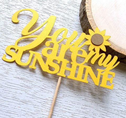 You Are My Sunshine Cupcake Toppers, Baby Shower Cake Topper, Yellow Food Picks, Sunflower Decor, Sunflower Bridal Shower (Set of 12) by perlaospot on Etsy https://www.etsy.com/listing/462156479/you-are-my-sunshine-cupcake-toppers-baby