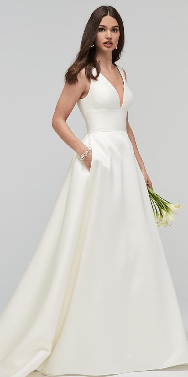 22fd273c Amazing Satin V-neck Neckline Natural Waistline A-line Wedding Dress With  Pockets