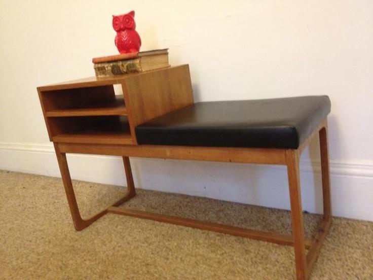 Vintage Retro Parker Furniture Phone Table Bench Hall Side Danish Era Mid 20th C