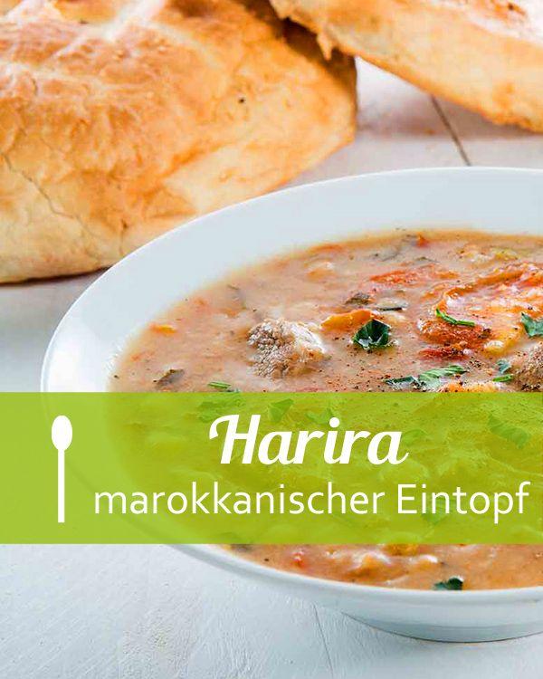 Harira - ist die Königin unter den arabischen Eintöpfen und wird vor allem in Nordafrika besonders gerne während des Fastenmonats Ramadan gegessen. Dieser Eintopf dessen Hauptbestandteile  Kichererbsen, Tomaten, Sellerie, Rind- oder Lammfleisch und ganz wichtig eine Reihe an Gewürzen beinhaltet, ist sehr nahrhaft, wärmend und stärkend.