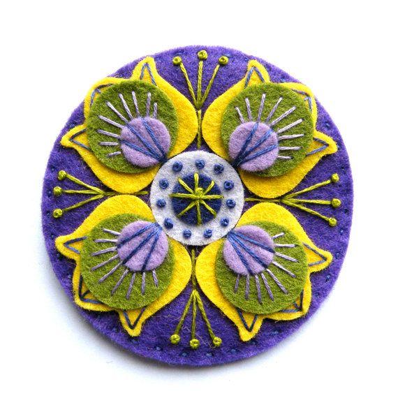 MARRAKECH felt brooch pin with freeform by designedbyjane on Etsy