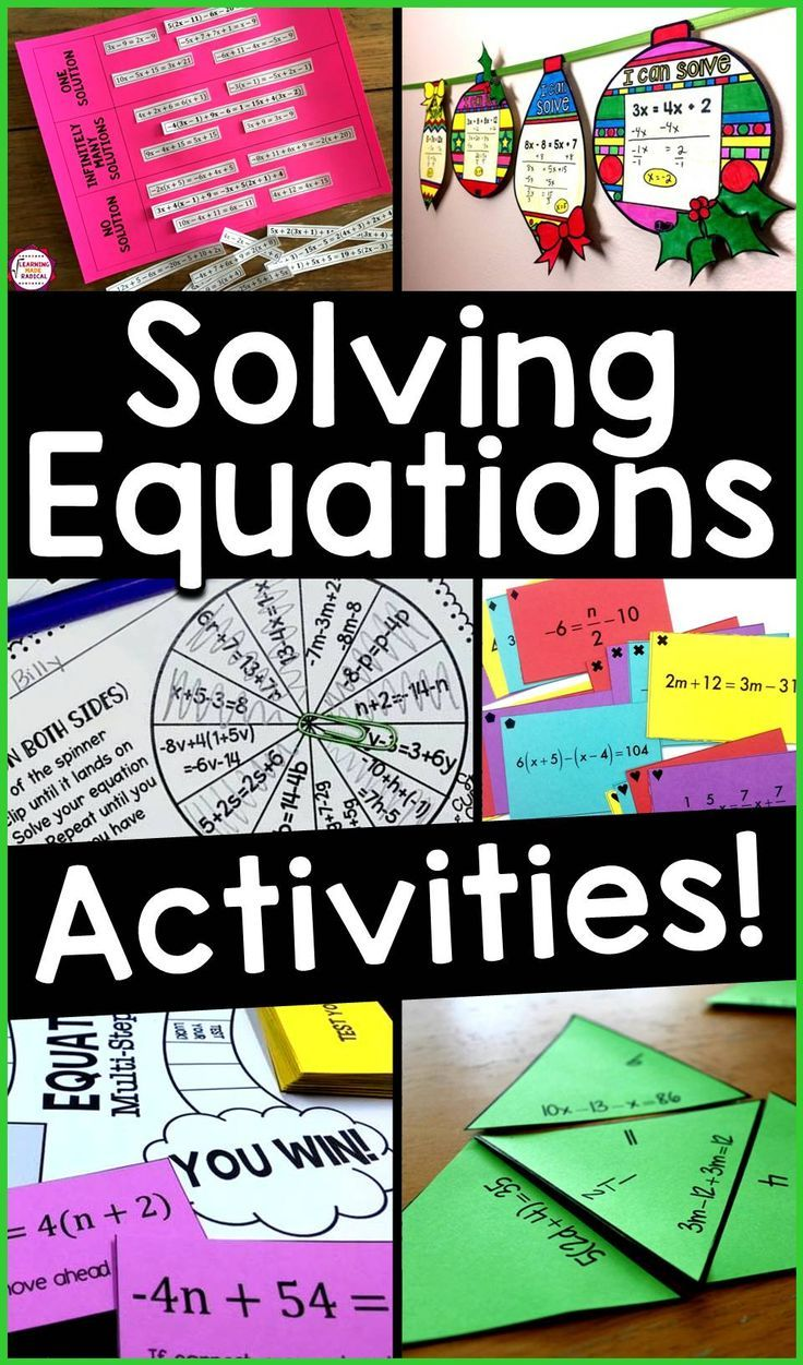 Here is a roundup of some of my favorite Algebra activities for solving one step equations, two step equations and multi step equations with variables on both sides. Activities include games, puzzles, sum em activities, spin to win activities, coloring activities, task cards, math pennants, identify the error analysis, flippables for an interactive notebook, cut and paste activities, scavenger hunts. #algebra #algebraactivities #solvingequations