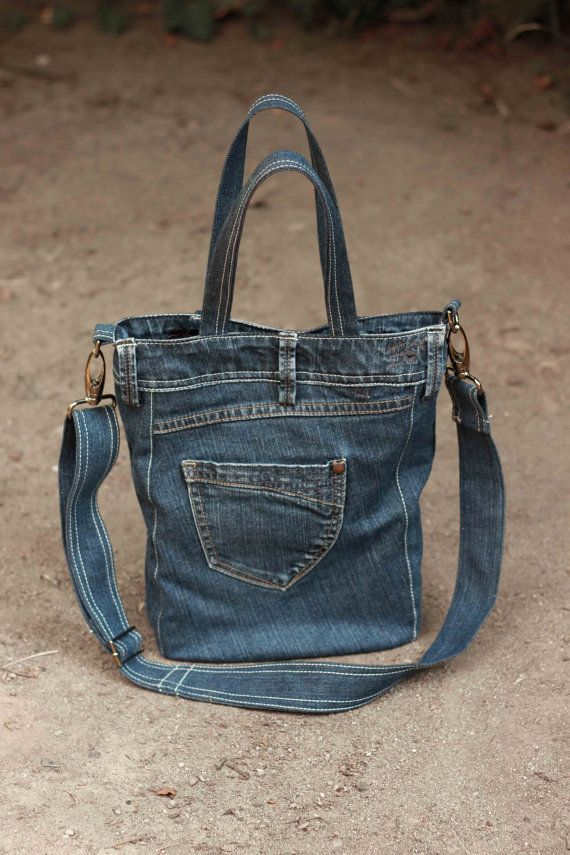 Tote bag, casual or street wear look. ----------------------------------------- This is a great big tote bag for your everyday needs. This blue denim tote bag is a simple and chic looking fashion accessory you can carry anywhere. ----------------------------------------- The interior is big enough, it fits, folders, files, books. Ideally spacious to fit all your necessary things. It is a 100% handmade product. ----------------------------------------- ♥ Details: - outer material: blue…