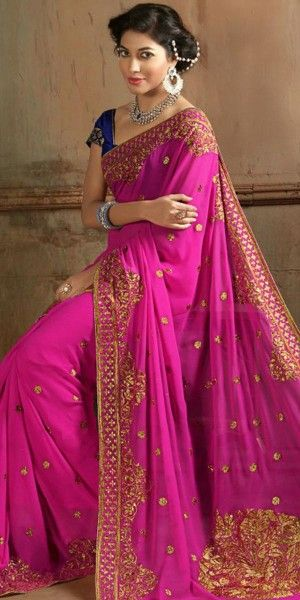 Deep Pink Color Saree With Attractive Embroidered Pallu.