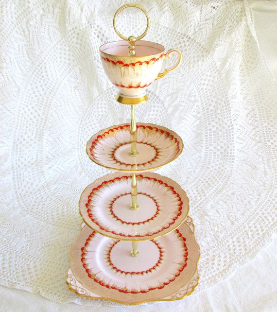Red & Gold on Pale Pink 4-Tiered Cupcake Stand Tea Tray Cake Plate with Cup and Saucer made of Tuscan fine bone English china for Mad Hatter decor or Alice in Wonderland tea party by HighTeaForAlice
