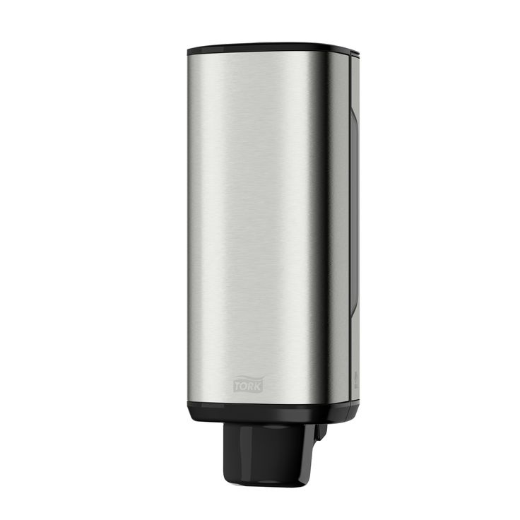Tork Foam Soap Dispenser: A modern design with smooth surfaces and clean lines that fits seamlessly in your washroom. (System: S4 - Foam Soap System; Material: Metal/Plastic; Height: 289 mm, Width: 106 mm, Depth: 107 mm; Color: Stainless) Get more information about this product at: http://bimobject.com/en/sca-eu/product/460010/sca-tork-eu