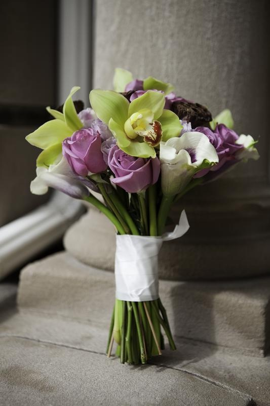 Purple & Green Wedding Bouquet. Orchids, roses, calla lily.