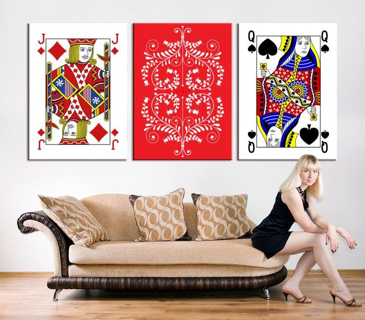 Large CANVAS PRINTING - Poker Set with Isolated Cards Art Print Set, Playing Cards 3 Panel Wall Art