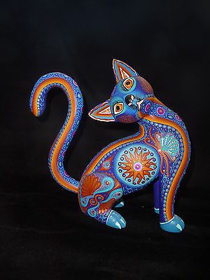 Mexican Folk Art Oaxacan Wood Carving Exceptional Cat Luis y Margarita Sosa