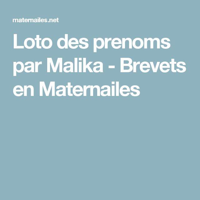 Loto des prenoms par Malika - Brevets en Maternailes