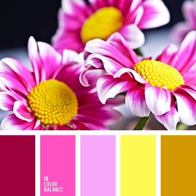 бледно-фиолетовый, горчичный, желтый, малиновый, оранжевый, палитра цветов, подбор цвета, розовый и желтый, фуксия, яркий желтый, яркий розовый.