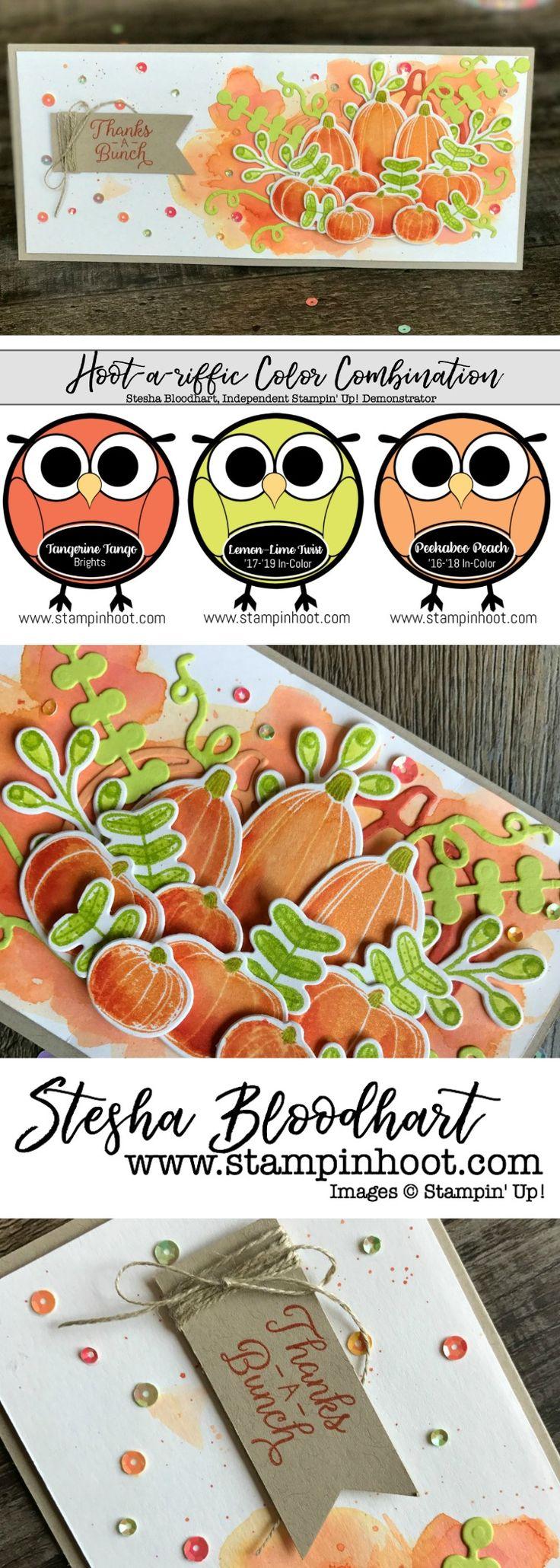 Pick A Pumpkin Bundle from Stampin' Up! 2017 Holiday Catalog for Global Design Project 105 #GDP105 #pickapumpkin #2017holidaycatalog #stampinup #thankyoucard