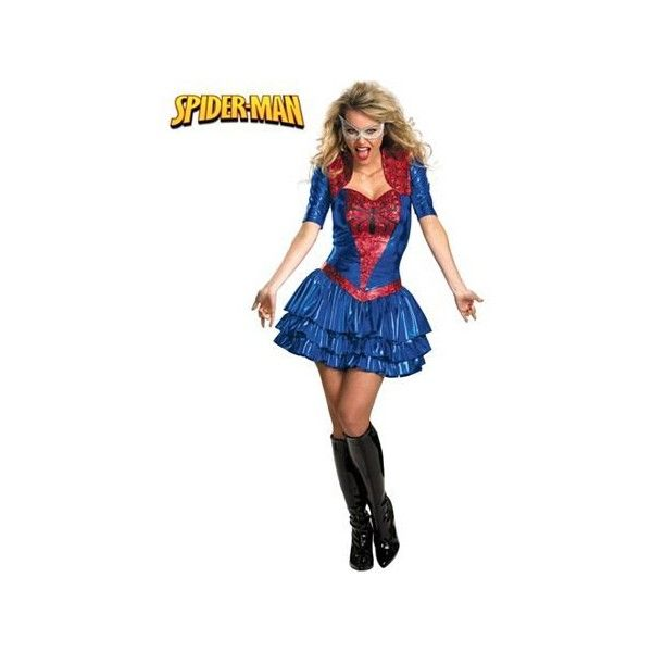 Womens Deluxe Sassy Spider-Girl Costume | Womens Cartoon Characters... ($48) ❤ liked on Polyvore featuring costumes, lady halloween costumes, cartoon character costumes, comic costumes, deluxe womens halloween costumes and cartoon costumes