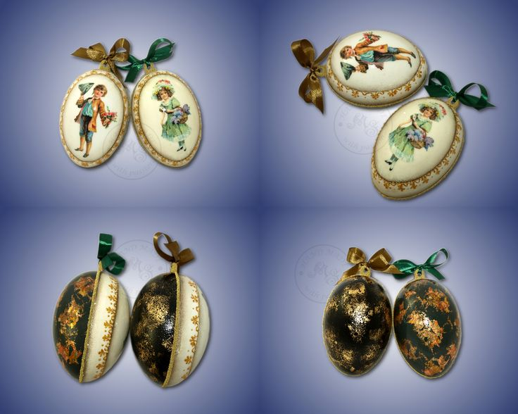 The victorian style plastic eggs. The back side was decorated with golden flakes and the front with the victorian's children and golden ornaments.