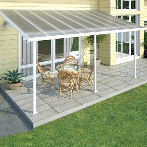 The Feria covers a 10' x 18' area and is made of clear multiwall polycarbonate roof panels that are virtually unbreakable. Powder coated aluminum frame is rust resistant and easy to clean. Integrated gutter system will drain water away from your patio. Adjustable pole supports allow for patio cover to adjust to a variety of patio sizes.