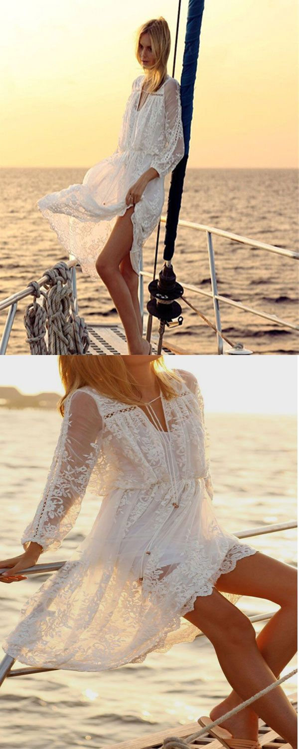 Cheap Beach Dress on occasiongirl.com, V-Neck White Lace Dress, New Ladies Casual Long Drawstring Waist Vestidos, Women Beach Cover Up Holiday Maxi, 2017 NEW Bohemian BOHO Vintage Patchwork White Dress