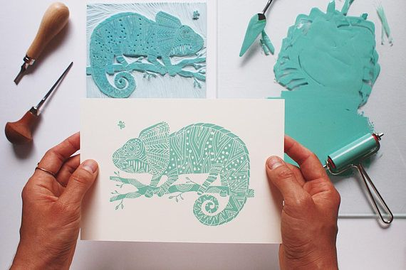 Chameleon and the Fly  Original Handprint  Limited Edition