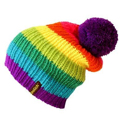 Hand knitted Rainbow Beanie with removable pom pom