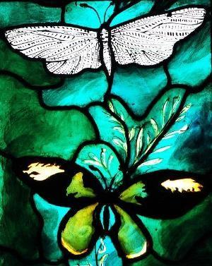 Detail from the John Betjeman memorial window, at All Saints, Farnborough (Berks) by John Piper/Joseph Nuttgens, 1986 by zelma