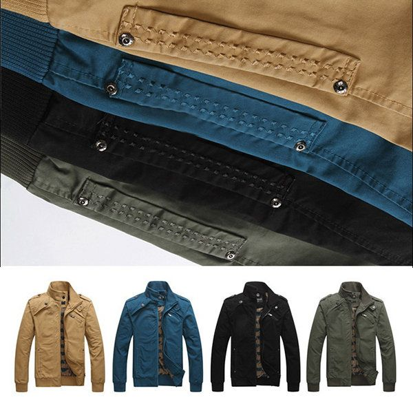 Plus Size Multi Pockets Washed Cotton Loose Stand Collar Outdoor Jackets for Men
