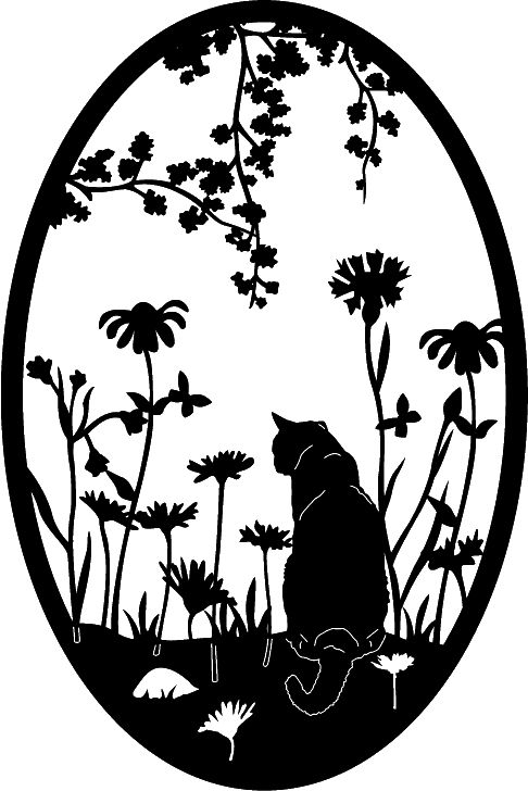 Garden Cat Ovals 1 Cut Ready DXF File Design for CNC cutting systems