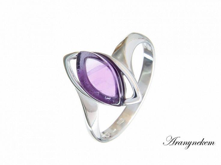Lila ametiszt köves ezüst gyűrű