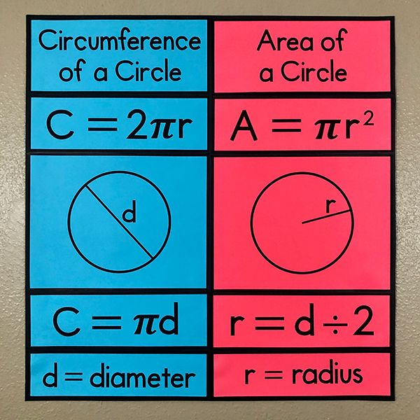 Area Circumference Of A Circle Bulletin Board Poster Circle