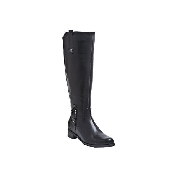 Women's Blondo Venise Waterproof Wide Calf Boot ($200) ❤ liked on Polyvore featuring shoes, boots, black, casual, waterproof boots, tall boots, wide calf leather boots, wide calf knee high boots, waterproof leather boots and black leather knee high boots