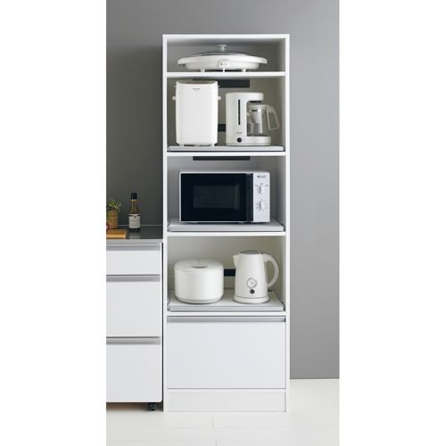 隙間に合わせて幅が選べるレンジラック。スライドテーブル3段付きで好きな場所によく使う家電を設置できるレンジ台。キッチン収納に1台欲しいおすすめ商品です。